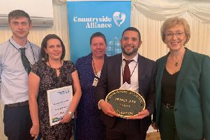 (L-R) Richard Harris, Robi Brenchley, Margaret Behan and Stephen Smith with Andrea Leadsom MP at the Countryside Alliance Awards at the House of Lords. Photo: Andrea Leadsom's office