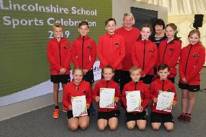Leasingham St Andrews School netball team, presented with an award by Lincolnshire County Council, pictured with Sally Blythe - school coach, and Councilllor Patricia Bradwell - deputy leader of LCC. EMN-190620-091133001