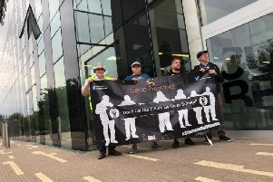 Some of the protestors outside the Corby Cube