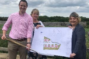 NRHA board members Bradley Swinger and Aine Cooper with Nassington Parish Council clerk Sarah Rodger at the start-on-site of Nassington.