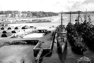 May 1943... American destroyers tied up at the US Navy yard at Fort George.