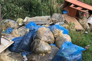 The fly-tipped waste where the rabbits were found