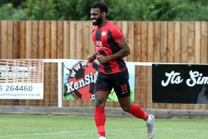 Daniel Nti has signed for Kettering Town and made his debut in the 1-0 win over a Northampton Town XI at Latimer Park. Picture by Alison Bagley