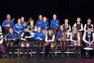 Members of Cookstown Folk Club and of the Music Service for Pipes and Drums at their sold out concert in the Burnavon in October 2018