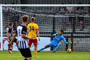 Jordon Crawford opened the scoring with this effort as Corby Town beat a Northampton Town XI in a pre-season friendly at Steel Park last week. Picture by Jim Darrah