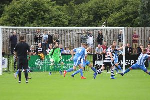 Action from the Poppies' 3-0 defeat at Darlington