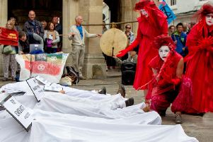 Protesters at the cross in Chichester on Saturday