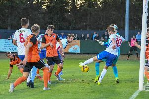 Action from AFC Rushden & Diamonds' 5-1 home win over Leiston
