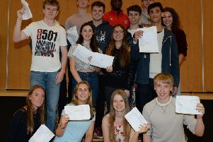 Archive image of students from Bucks collecting their A-Level results