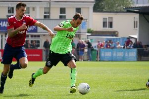 Hemel's Sam Ashford came off the bench during the Tudors' surprise 1-0 loss to Beaconsfield Town today. (File picture by Ben Fullylove).