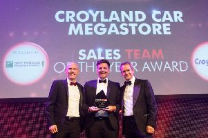 From left, sponsor BNP Paribas managing director Andrew Brameld with Mark Swindells, General Manager of Croyland Car Megastore, and MT Awards host''Alexander Armstrong.