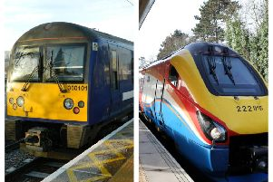 The 'new' Class 360 Desiros (left) that will be introduced between Corby and St Pancras and the 'old' Meridians (right) which are being sent elsewhere. NNL-190816-170934005