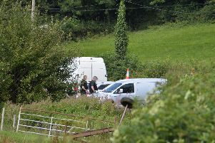 PSNI at the scene of a bomb attack at Wattle Bridge in Co Fermanagh on Monday
