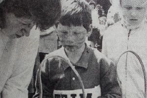 Keeping a steady hand was needed at this side-show at Olderfleet Primary School Fete. 1989