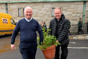 """Fr Paul Fraser and Fr Joe Gormley carry an Oak sapling for planting to commemorate the 60th anniversary of St Mary�""""s Church Creggan. DER2219GS-026"""