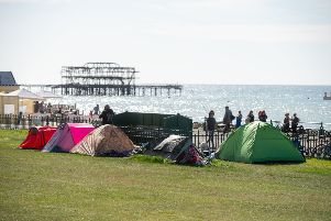 Tents on Hove Lawns that the council are trying to move on. Picture: Tony Kershaw / SWNS.
