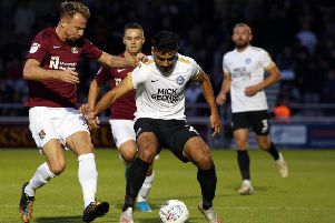 Serhat Tasdemir of Peterborough United in action against Cobblers. Photo: Joe Det/theposh.com