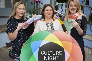 The Mayor of Derry City and Strabane District Council, Michaela Boyle, pictured at the Garden of Reflection, Bishop Street for the launch of this year's Culture Night 2019. This year's event will be held on Friday, September 20. Included in photo are Sharon Meenan (right), Arts Development Officer, DCSDC and Aine Clarke (left) from Crafting the City who will launch their exhibition as part of Culture Night.