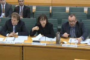 Daniel Holder, deputy director of the Committee on the Administration of Justice, left, and Professors Louise Mallinder and Kieran McEvoy from Queen's University Belfast giving evidence on the Stormont House Agreement to the Northern Ireland Affairs Committee on September 4, 2019. All three are or have been involved with Committee for the Administration of Justice (CAJ)