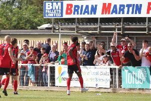 Dan Nti celebrates after he gave Kettering Town an early lead from the penalty spot in the 2-1 win over Alfreton Town. Pictures by Peter Short