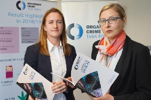 Handout photo issued by Aaron McCracken Photography of Director of Safer Communities at the Department of Justice Claire Archibold (right) and DS Rachel Shields of the PSNI at the launch of the Organised Crime Task Force (OCTF) Annual Report.