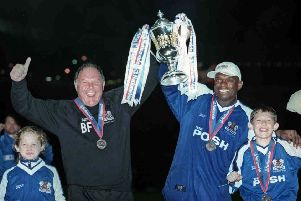 Barry Fry and Andy Clarke celebrate a Posh promotion in May, 2000.