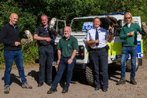 PC Chris Bird (second from left) with representatives from the RSPCA, Forest England and Raptor Rescue for the Operation Owl launch in Salcey Forest. Photo: Northamptonshire Police