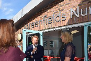 Headteacher Sandra Appleby and David Ross, whose trust runs the school, at the opening of Greenfields nursery