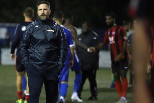 Nicky Eaden, pictured following the shock defeat at Sutton Coldfield Town last night, is no longer the manager of Kettering Town. Pictures by Peter Short