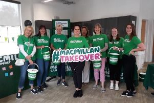 Volunteers at Rushden Lakes' Macmillan takeover day