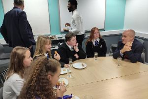 Mr Herrington met Kingswood pupils