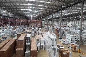 Inside the huge warehouse site.