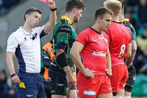 Saracens replacement Charlie Watson saw red after kicking Andy Symons in the head