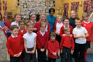 Poet and author Valerie Bloom offcially opened the 'story cottage' on her visit to  Irchester Community Primary School