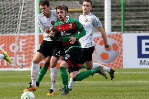Robbie McDaid was at the heart of the action in Glentoran's defeat of Carrick Rangers. Pic by INPHO.