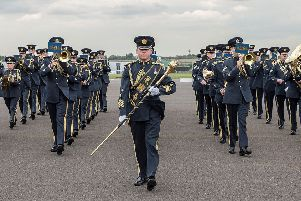 RAF Central Band Group Photograph and marching on parade square'Image By: Corporal Ben Tritta