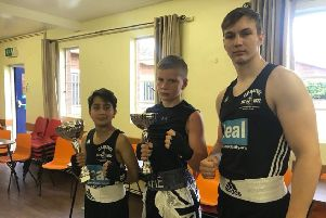The Peterborough Police ABC team at Newark. From the left are Lucky Raja, Alfie Baker and Artur Tomasevic.