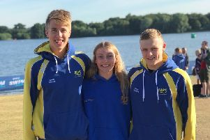 COPS talented open water trio. From the left they are Jamie Scholes, Kenzie Whyatt and Harry Whiteman.