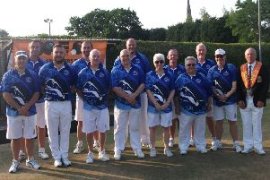 The Parkway team lifted the Dan Duffy Trophy for the second year running to qualify for next year's Durham Centenary Trophy. (Back row, left to right): Paul Dalliday, Neil Wright, Lee Welsford, Trevor Collins, Tony Scarr. (Front) Brian Martin, Simon Law, Stuart Reynolds, Howard Shipp, Pat Reynolds, Fred Addy, Mike Robertson, Tony Mace (county president).