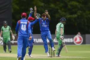 Afghanistan players celebrating after tacking an Irish wicket during their ODI win on Monday