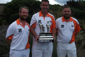 Two-bowl triples champions from Parkway ' Tristan Morton, Paul Dalliday and Simon Law.