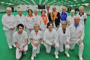 Pictured are competitors and officials at  this  year's Northants county indoor bowls championships at Burton Street.
