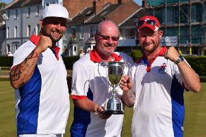 Morton brothers Ean (left) and Tristan (right), pictured celebrating their British triples win with Mike Robertson, have been invited to attend England  senior trials.