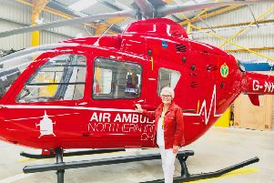 Margaret Hanvey has visited the Air Ambulance base.