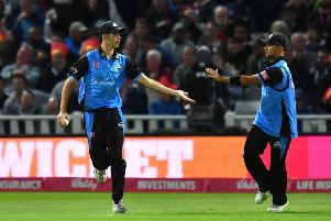Patrick Brown (left) after taking a catch in the T20 Blast FInal.