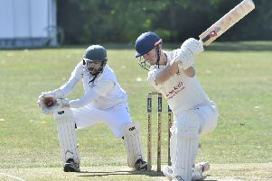Oundle's Alex Cunningham is caught behind in the Rutland Division One match against Barnack. Photo: David Lowndes.