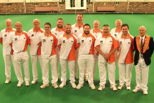 Northants A before their Derbyshire Trophy win over Northants A. (Back row, left to right): Tony Scarr, Martyn Dolby, Simon Law, Paul Dalliday, Jeff Newson, Roger Martin. (Front row): Nick Wilkie, Adam Warrington, Tristan Morton, James Harford (captain), Michael Humphreys, Stephen Harris, Tony Mace (county president).