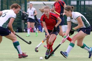 Vicky Warlow (centre) scored Banbury's goal against Eastcote