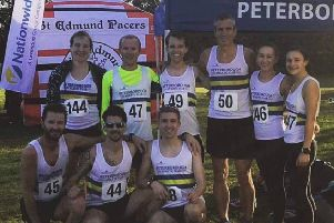 Peterborough AC runners at the Eastern Counties Championships. From the left they are, back, Sarah Caskey, Olly Mason, Nathan Popple, Simon Mead, Louise Mason, Sophie Watson, front, Steve Hall, Kirk Brawn and Dom Moszkal.