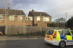 Police in Wykes Road, Yaxley, following the incident